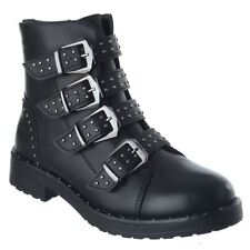 WOMENS LADIES LOW HEEL ANKLE BOOTS STUDS STRAPPY BIKER BUCKLES ZIP UP SHOES SIZE