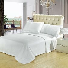 Luxury White Checkered Quilted Microfiber Coverlet Bedspread AND Shams
