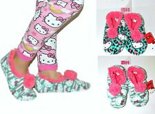 2 pairs NWT Sanrio Hello Kitty Pom Pom Fleece Slipper Socks for GIRLS