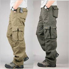Mens Casual Overalls Loose Straight Cargo Pants Military Outdoor Trousers++Hot.