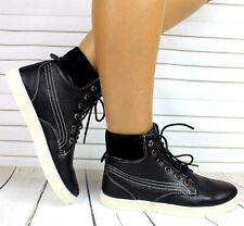 LADIES FAUX LEATHER FLAT LACE UP HI HIGH TOP ANKLE TRAINERS BOOTS SNEAKERS UK 5