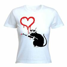 BANKSY LOVE RAT WOMENS T-SHIRT - Choice Of Colours - Sizes S to XL