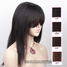 Silk Base Lace Front Full Lace Wigs With Straight Bangs Yaki Straight Hair