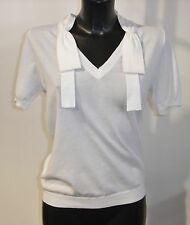 MOSCHINO CHEAP AND CHIC WHITE COTTON V NECK SHORT SLEEVE TOP BNWT