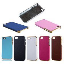 Details about New Frame Luxury PU Leather Chrome Hard Case Cover For iPhone S5P1