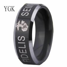 USMC US MARINE FIDELIS Fashion Tungsten CARBIDE Ring WEDDING
