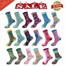 Pack of 6 12 Pairs Women Dress Socks Casual Crew Stretch Socks Multi-Color 9-11
