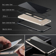 Deluxe Metal Aluminum Frame Carbon Fiber Back Case Cover For iPhone 6 & 6 Plus