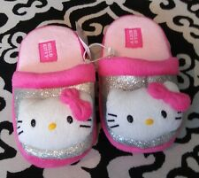 NWT Hello Kitty Plush Pink/Multi-Color Girl's Slippers Sz L 4 - 5