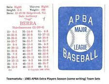 1985 APBA Extra Players Only Season Baseball Cards written on ** Pick Your Team