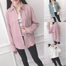 Women Stand Collar Long Sleeve Button Down Casual Solid Corduroy Shirt Blouse