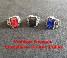 KNIGHT RING MENS STEEL SILVER STONE BLACK ONYX BLUE SAPPHIRE RED RUBY