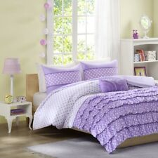 Girls Purple & White Polka Dots Ruffles Comforter Set  AND Decorative Pillow