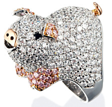 Gleaming Sterling Silver Pig Ring with PAVE Set CZs, Non-Tarnishing Rhodium