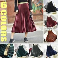 Women Chic Long Pleated Skirt High Waist Maxi A-line Dress Vintage Casual Lady