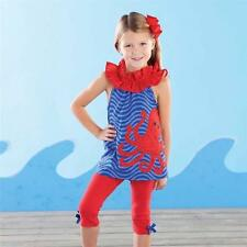 Octopus Tunic Legging Set Size 2T 3T 4T NEW Mud Pie Boathouse Baby Blue Red NWT