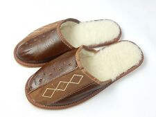 Natural Sheep's Sheepskin Wool Leather Warm Men's Slippers Scuffs House Shoes *