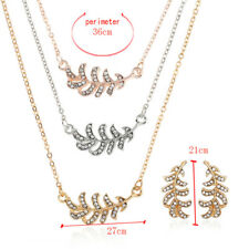 Multi-layer Metal Leaf Feather Pendant Necklace Earrings Jewelry Set Precious