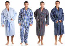 Mens Pure 100% Cotton Dressing Gown Bathrobe Robe Lounge Soft Kimono 7396