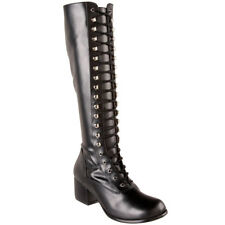 "Funtasma Costume Shoe Women's 2"" Block Heel Lace Up Knee High Boots Retro Gogo"