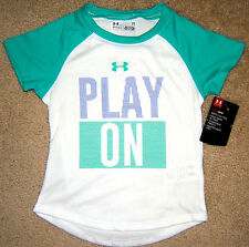 UA Under Armour Heat Gear Girls T Shirt 2T 3T NWT Play On Green White Toddler