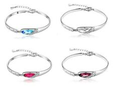 Fashion crystal Jewelry bracelet bangle Glass Charm White Gold Plated Women Gift