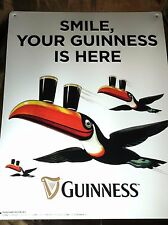"""Collectible Guinness Beer """"Smile Your Guinness is Here""""  19"""" Tin Sign Bar  NEW"""