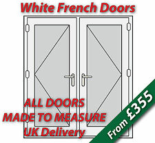 White uPVC French Doors - Made to Measure - White handles, Silver spacer bars