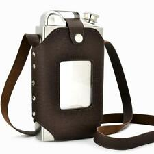 Hip Flask Stainless Steel PU Leather Holster Sheath Large Capacity with Funnel