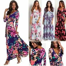 New Spring Floral Print Womens Maxi Dress Ladies V Neck Long Sleeve Party Dress