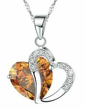 Fashion Osterreic Czech Crystal Heart Shape Pendant Necklace + Gift Box