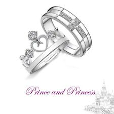 Silver Open Adjustable Crystal Engagement Crown Princess Cross Couple Rings Hot