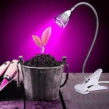 5W Hydroponic LED Grow Light Clamp Growing Plant Lamp Indoor Garden Greenhouse