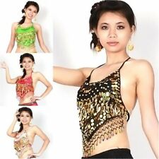 Charm Sequins Beads Bells Tops Gold Coins Belly Dance Costume Dancing Clothe Bra