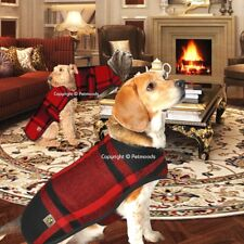 Chilly Dog Coat Blanket Red Plaid Handmade Black Wool [XS - SMALL] NEW 2018
