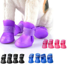 4PCS WaterProof Pet Rain Shoes Boots Puppy Dog Non-slip Rubber Booties Shoes Hot