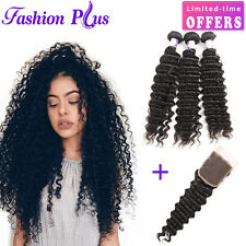 Brazilian 3 Bundles with 4x4 Closure Deep Curl Wavy Human Remy Hair Extensions