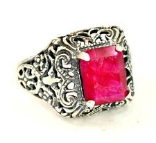 NATURAL RUBY JULY BIRTHSTONE VICTORIAN DESIGN 925 STERLING SILVER RING #0039