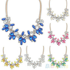 FT- Fashion Lady Bright Crystal Drop Resin Flower Statement Choker Bib Necklace
