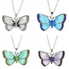 Silver Plated Enamel Crystal Butterfly Pendant Necklaces Cubic Zirconia