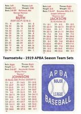 1919 APBA Baseball Season Baseball Team Sets ** Pick your Team Set **