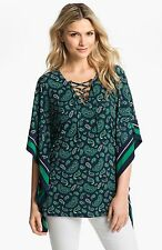 NWT MSRP $110 - MICHAEL KORS Women's Paisley Lace-Up Tunic, Iris and Green, XS S