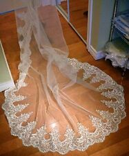 New Vintage Bling Cathedral Wedding Veil Lace Applique Beads Bridal Veil Comb