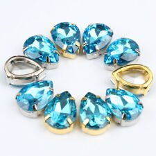 Aquamarine shinning water Drop Sew On gold/silver claw crystal glass Rhinestone