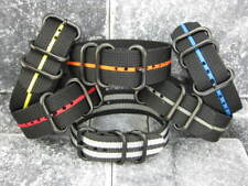 New 24mm Balistic Nylon Diver Strap 3 Rings PVD Watch Band Military Stripe
