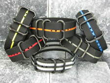 New 22mm Balistic Nylon Diver Strap 3 Rings PVD Watch Band Military Stripe