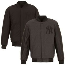 New York Yankees Charcoal/Black Reversible Varsity Wool Jacket MLB Baseball