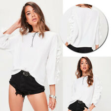 New Casual Loose Tops Womens Frill 3/4 Sleeve Fashion Blouse Ladies T-Shirt