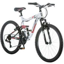 "Original 24"" Mongoose Bicycle Dual Aluminum Suspension MTB Silver/Red"