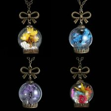 Real Dried Pressed Flower Glass Dome Pendant Necklace Vintage Women Jewelry Gift